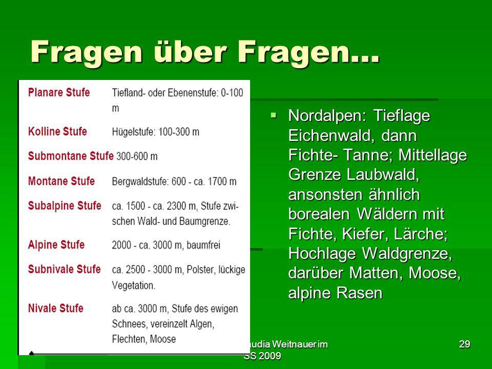 Tutorium Claudia Weitnauer im SS 2009 29 Fragen über Fragen…  Nordalpen: Tieflage Eichenwald, dann Fichte- Tanne; Mittellage Grenze Laubwald, ansonst