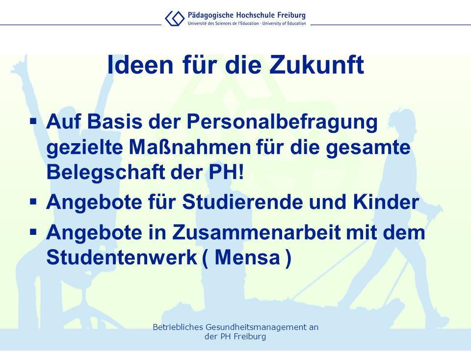 Betriebliches Gesundheitsmanagement an der PH Freiburg Ideen für die Zukunft  Auf Basis der Personalbefragung gezielte Maßnahmen für die gesamte Bele