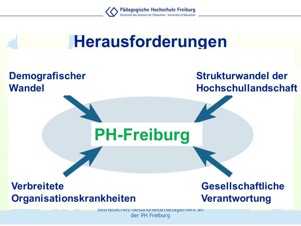 Herausforderungen PH-Freiburg Strukturwandel der Hochschullandschaft Demografischer Wandel Gesellschaftliche Verantwortung Verbreitete Organisationskr