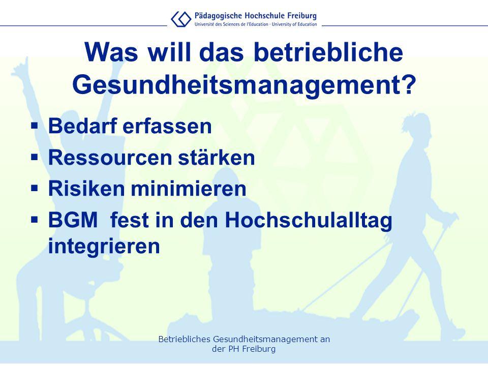 Betriebliches Gesundheitsmanagement an der PH Freiburg  Bedarf erfassen  Ressourcen stärken  Risiken minimieren  BGM fest in den Hochschulalltag i
