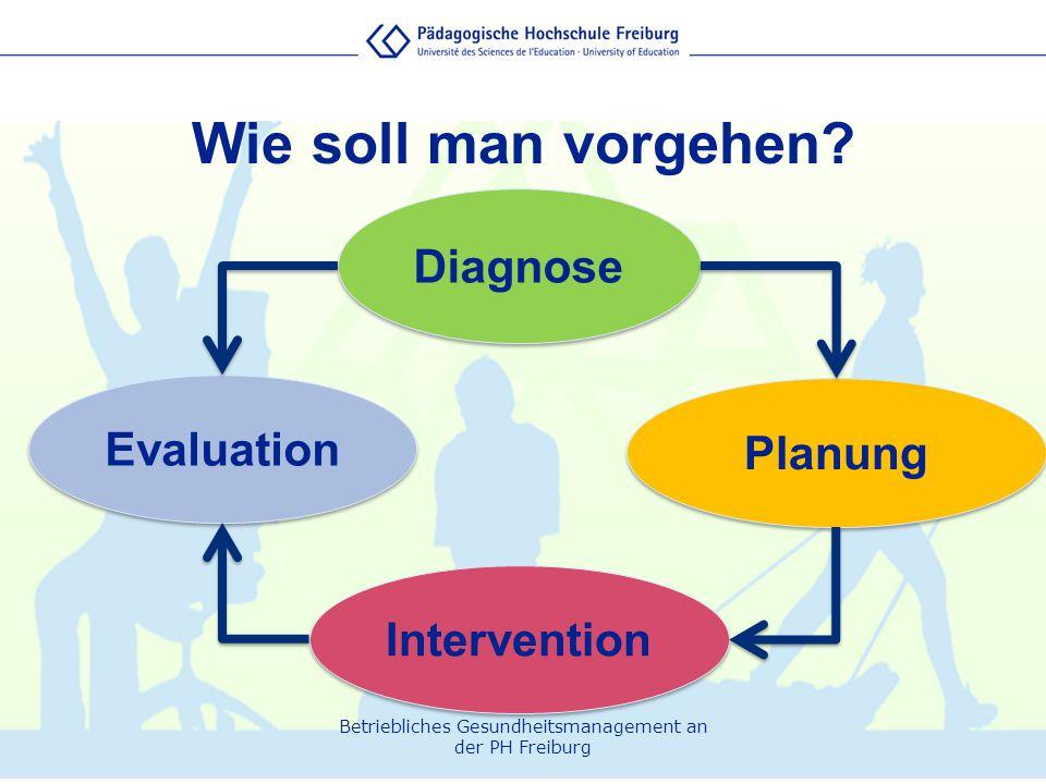 Betriebliches Gesundheitsmanagement an der PH Freiburg Wie soll man vorgehen? Diagnose Evaluation Intervention Planung