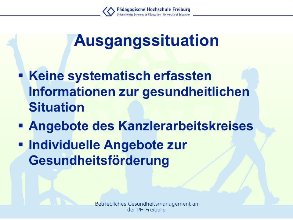Betriebliches Gesundheitsmanagement an der PH Freiburg Ausgangssituation  Keine systematisch erfassten Informationen zur gesundheitlichen Situation 