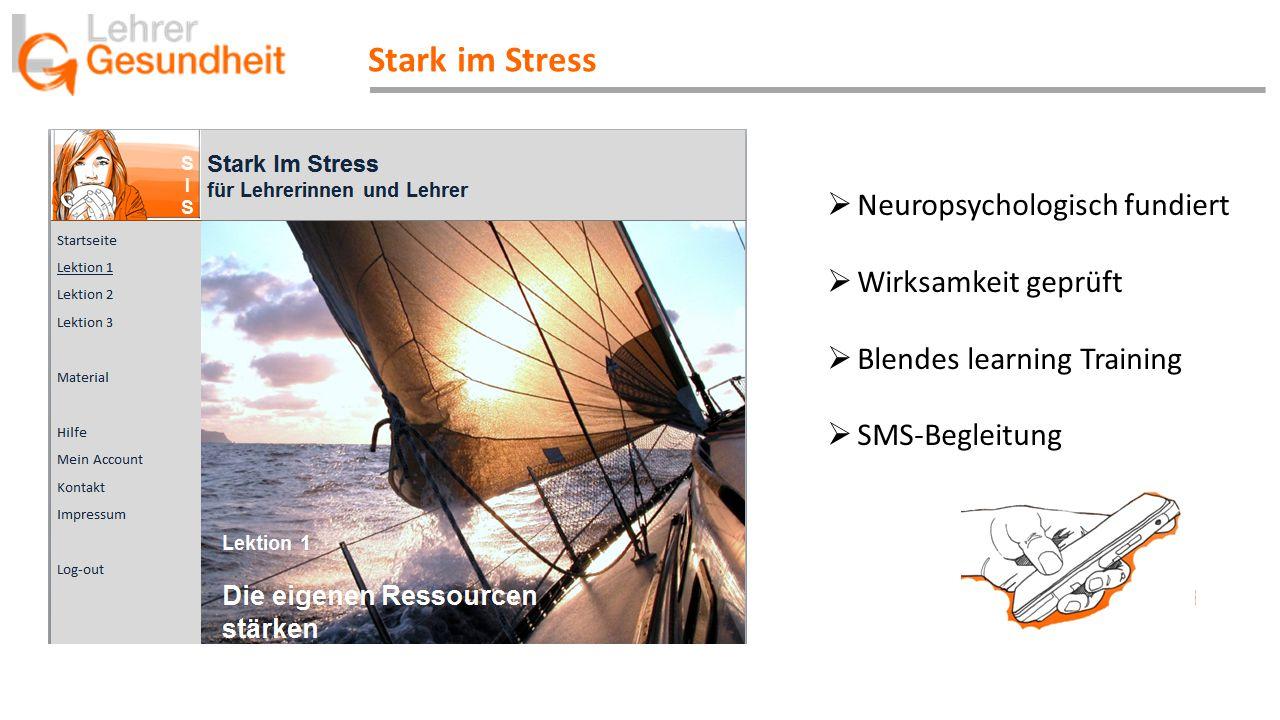 Stark im Stress  Neuropsychologisch fundiert  Wirksamkeit geprüft  Blendes learning Training  SMS-Begleitung