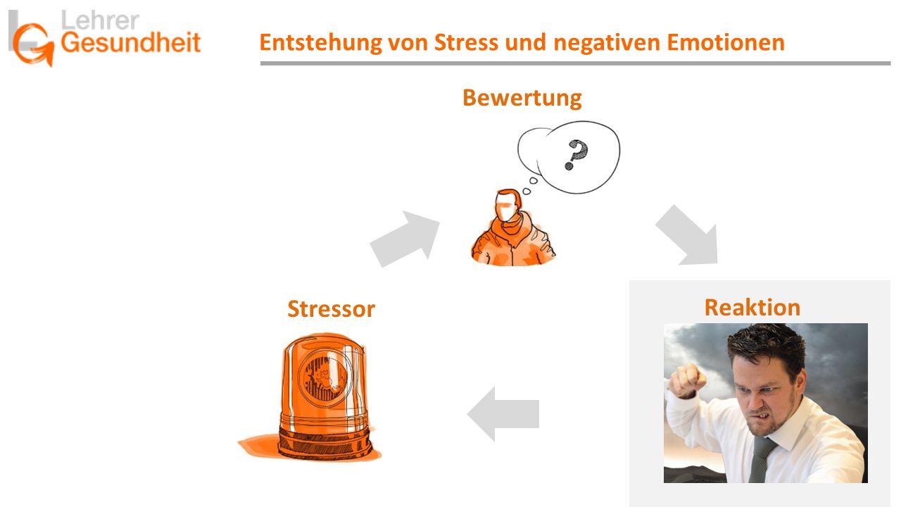 Entstehung von Stress und negativen Emotionen Stressor Bewertung Reaktion