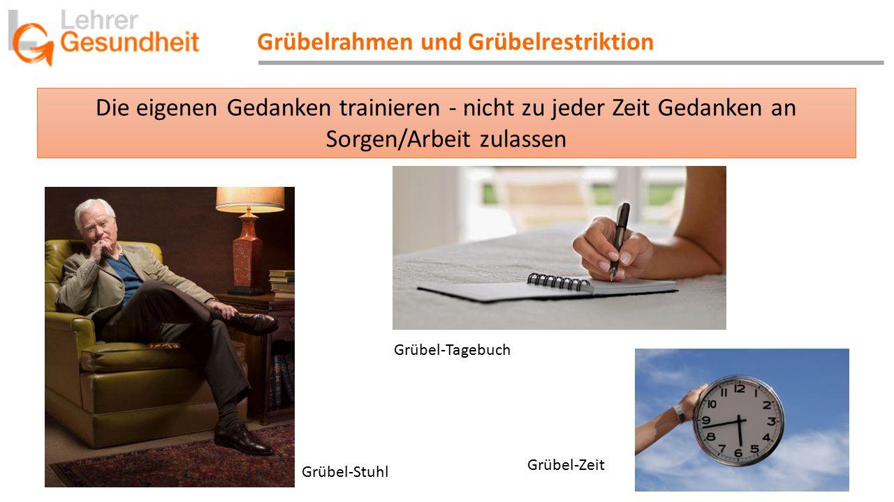Grübel-Stuhl Grübel-Tagebuch Grübel-Zeit Die eigenen Gedanken trainieren - nicht zu jeder Zeit Gedanken an Sorgen/Arbeit zulassen