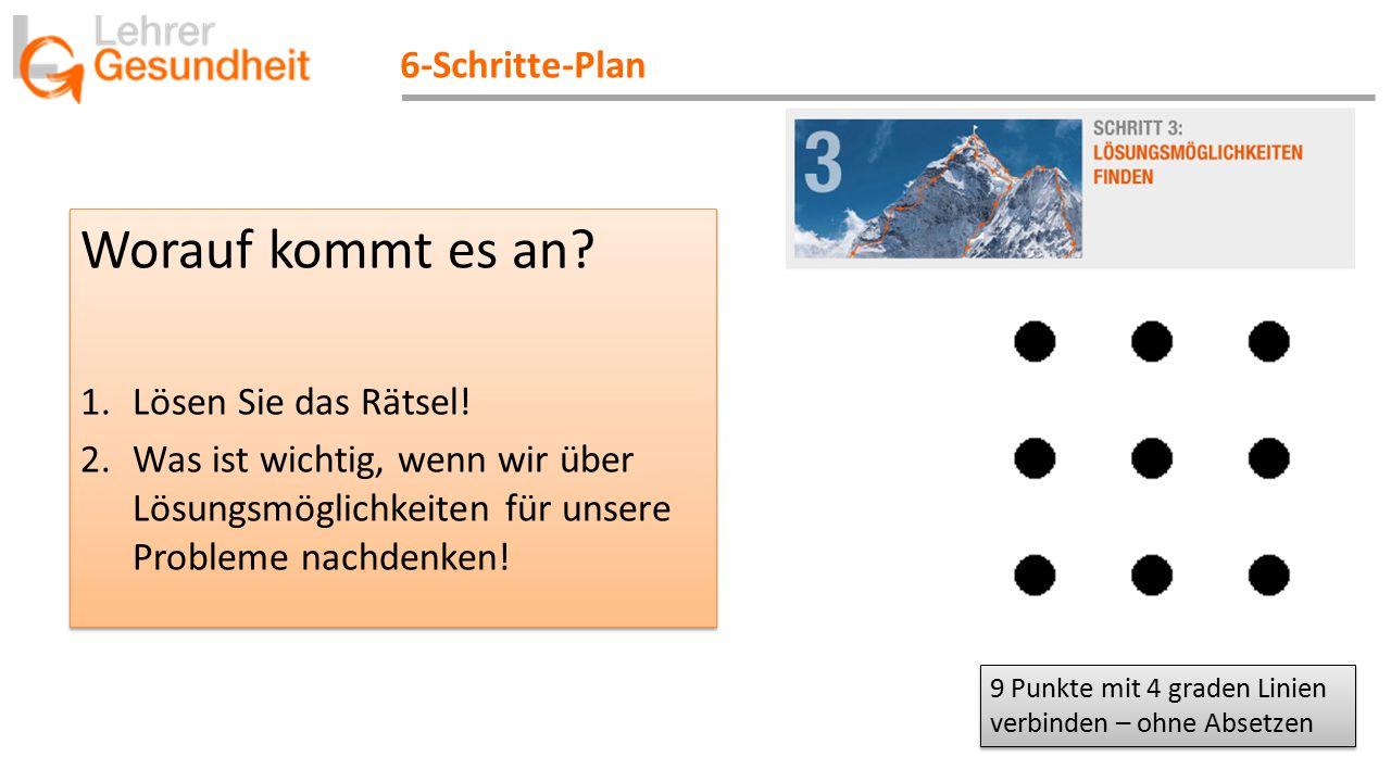 6-Schritte-Plan Worauf kommt es an? 1.Lösen Sie das Rätsel! 2.Was ist wichtig, wenn wir über Lösungsmöglichkeiten für unsere Probleme nachdenken! Wora