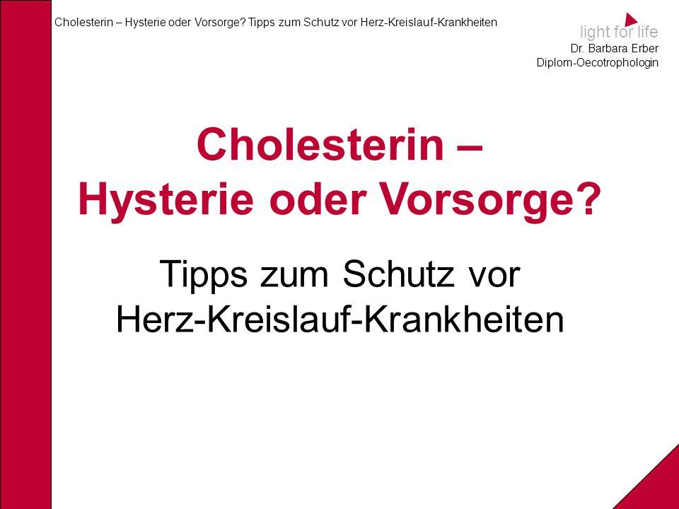 light for life Dr.Barbara Erber Diplom-Oecotrophologin Cholesterin – Hysterie oder Vorsorge.