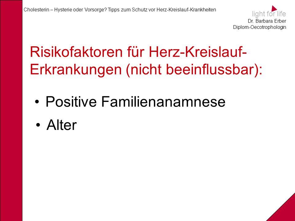 light for life Dr. Barbara Erber Diplom-Oecotrophologin Cholesterin – Hysterie oder Vorsorge? Tipps zum Schutz vor Herz-Kreislauf-Krankheiten Risikofa