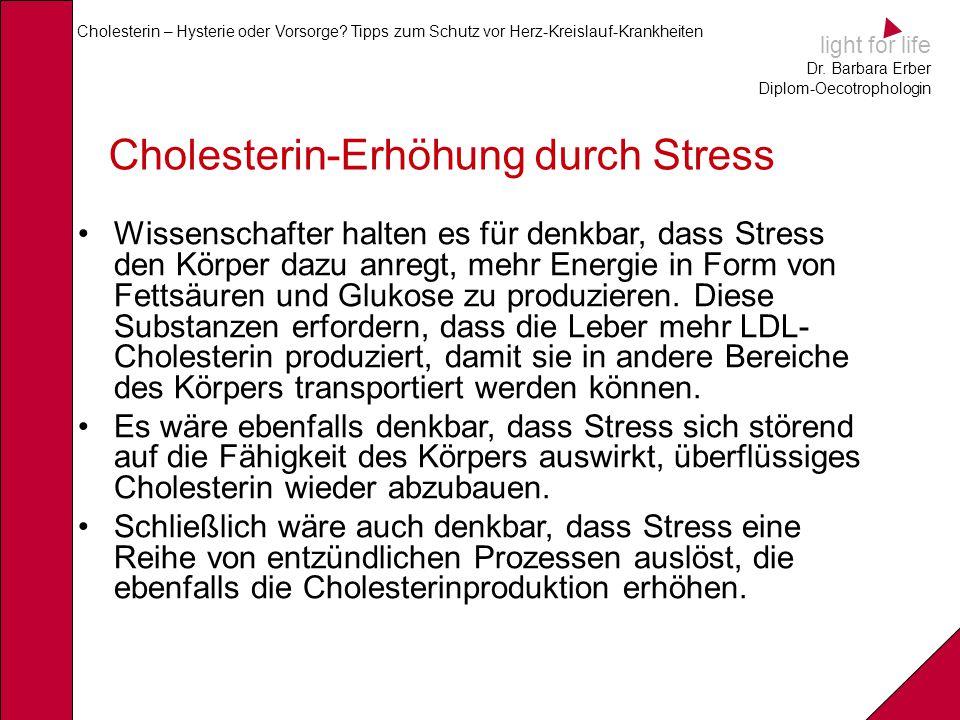 light for life Dr. Barbara Erber Diplom-Oecotrophologin Cholesterin – Hysterie oder Vorsorge? Tipps zum Schutz vor Herz-Kreislauf-Krankheiten Choleste