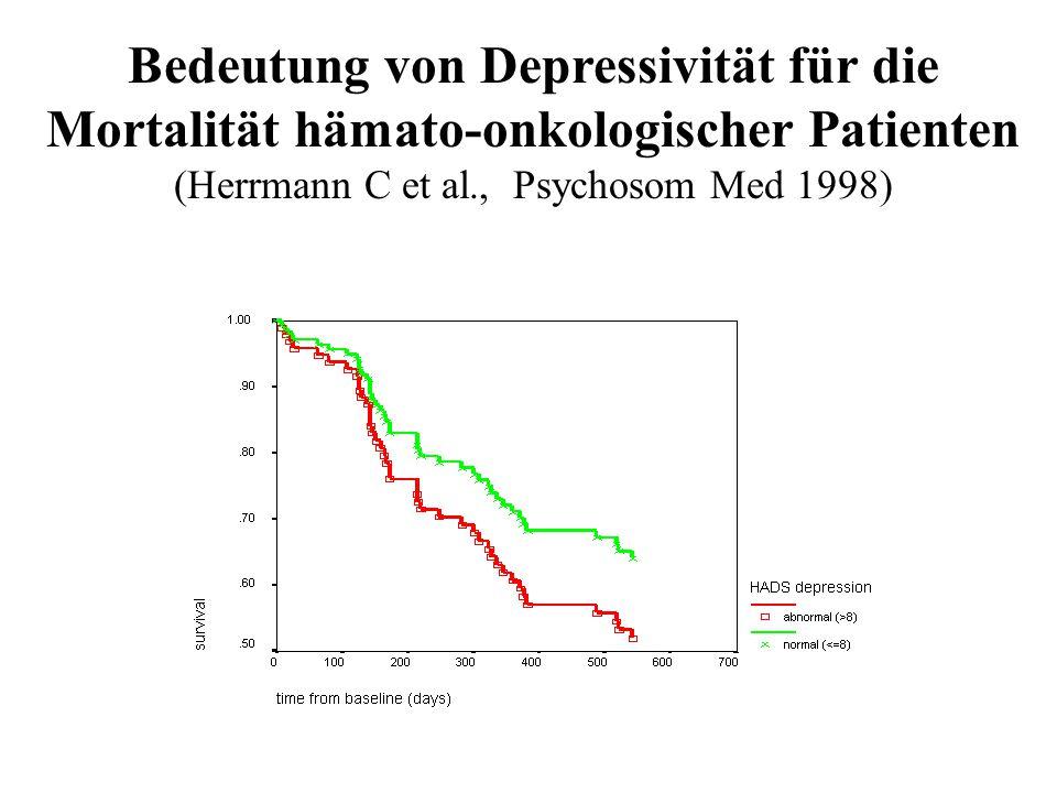 Bedeutung von Depressivität für die Mortalität hämato-onkologischer Patienten (Herrmann C et al., Psychosom Med 1998)