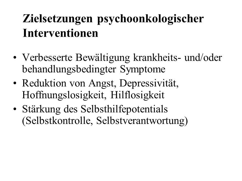 Zielsetzungen psychoonkologischer Interventionen Verbesserte Bewältigung krankheits- und/oder behandlungsbedingter Symptome Reduktion von Angst, Depre