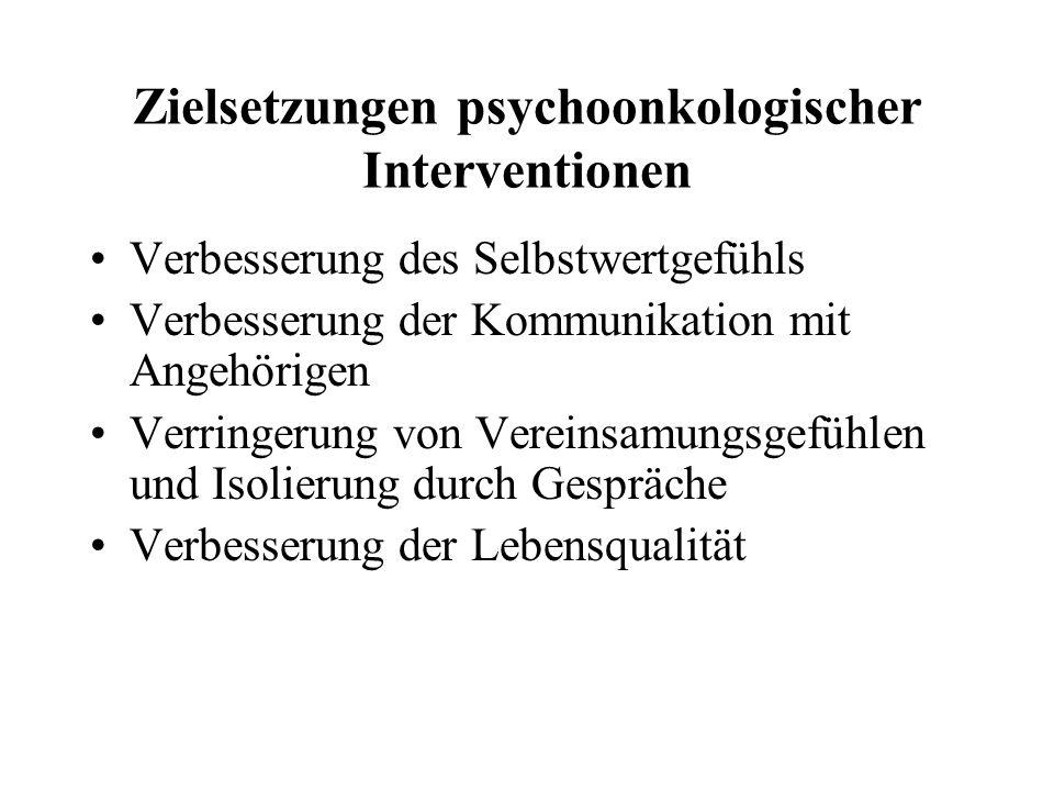 Zielsetzungen psychoonkologischer Interventionen Verbesserung des Selbstwertgefühls Verbesserung der Kommunikation mit Angehörigen Verringerung von Ve