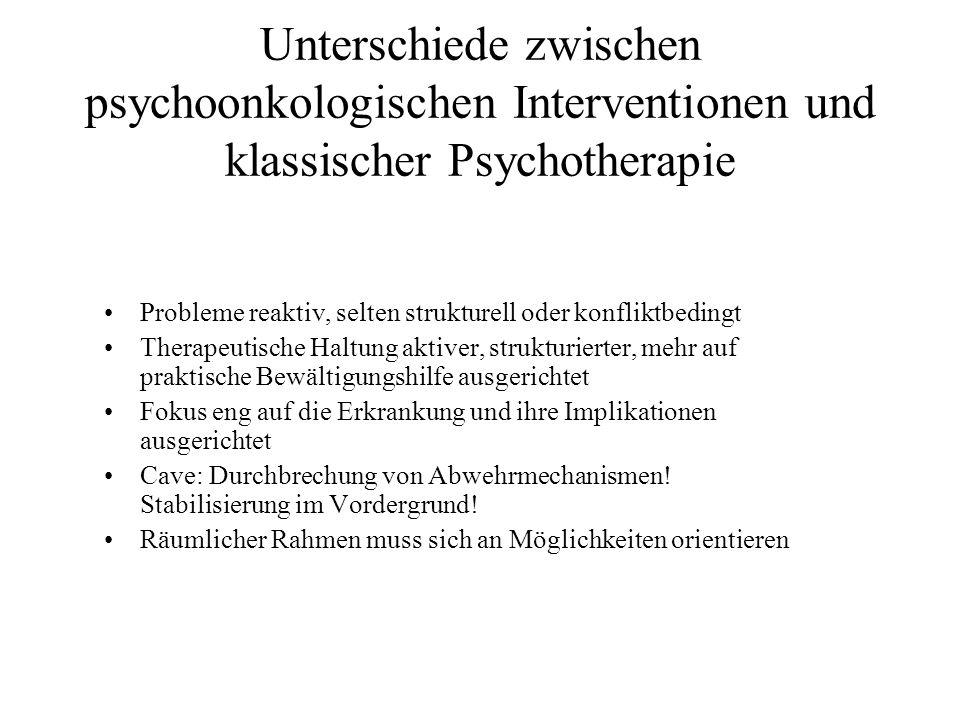 Unterschiede zwischen psychoonkologischen Interventionen und klassischer Psychotherapie Probleme reaktiv, selten strukturell oder konfliktbedingt Ther