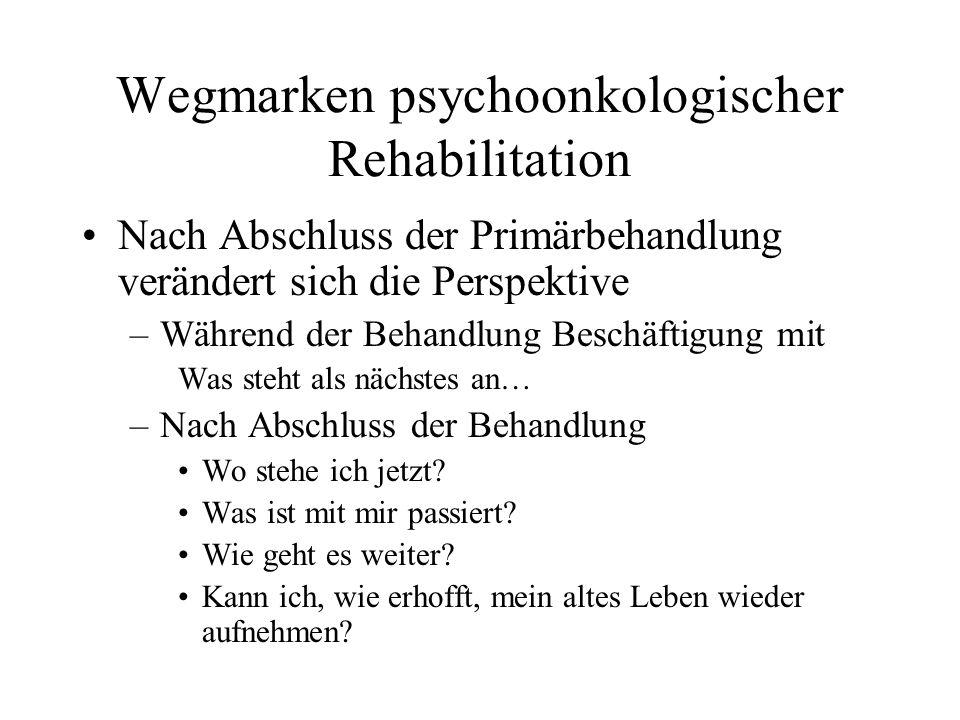 Wegmarken psychoonkologischer Rehabilitation Nach Abschluss der Primärbehandlung verändert sich die Perspektive –Während der Behandlung Beschäftigung