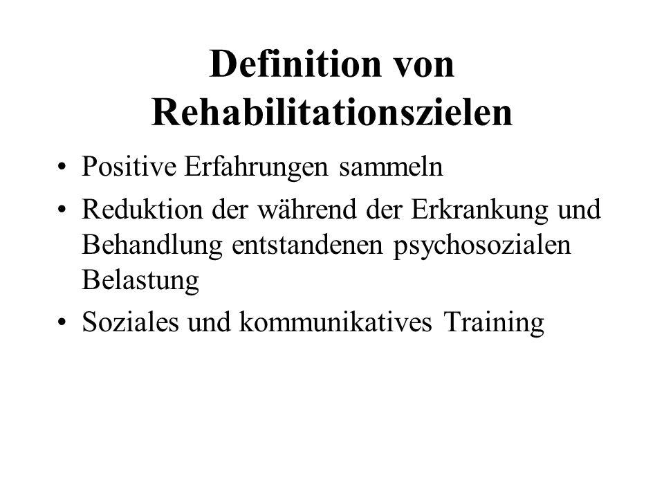 Definition von Rehabilitationszielen Positive Erfahrungen sammeln Reduktion der während der Erkrankung und Behandlung entstandenen psychosozialen Bela