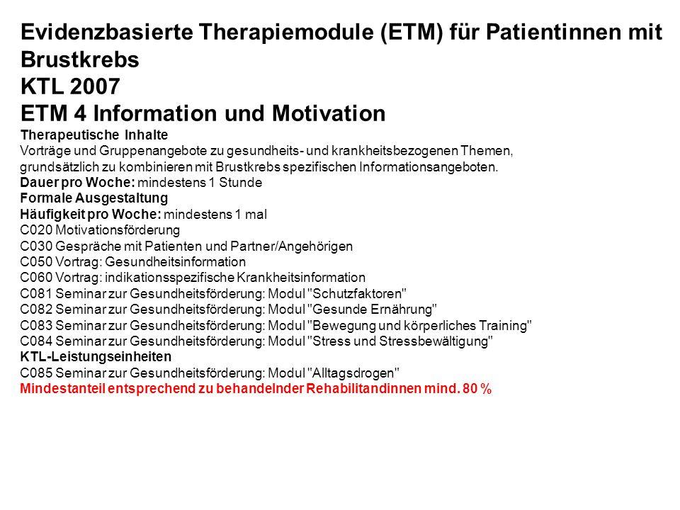 Evidenzbasierte Therapiemodule (ETM) für Patientinnen mit Brustkrebs KTL 2007 ETM 4 Information und Motivation Therapeutische Inhalte Vorträge und Gru