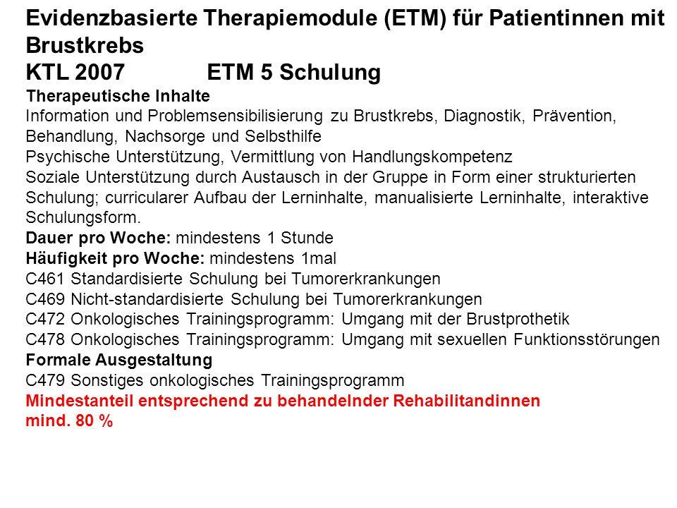 Evidenzbasierte Therapiemodule (ETM) für Patientinnen mit Brustkrebs KTL 2007 ETM 5 Schulung Therapeutische Inhalte Information und Problemsensibilisi