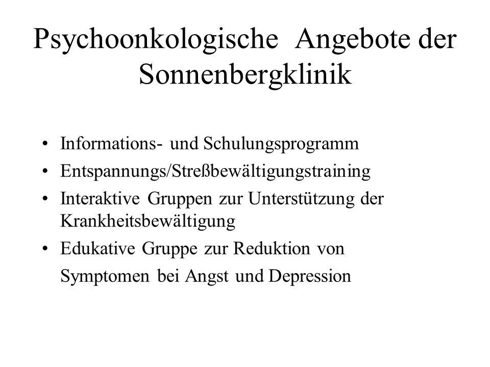 Psychoonkologische Angebote der Sonnenbergklinik Informations- und Schulungsprogramm Entspannungs/Streßbewältigungstraining Interaktive Gruppen zur Un