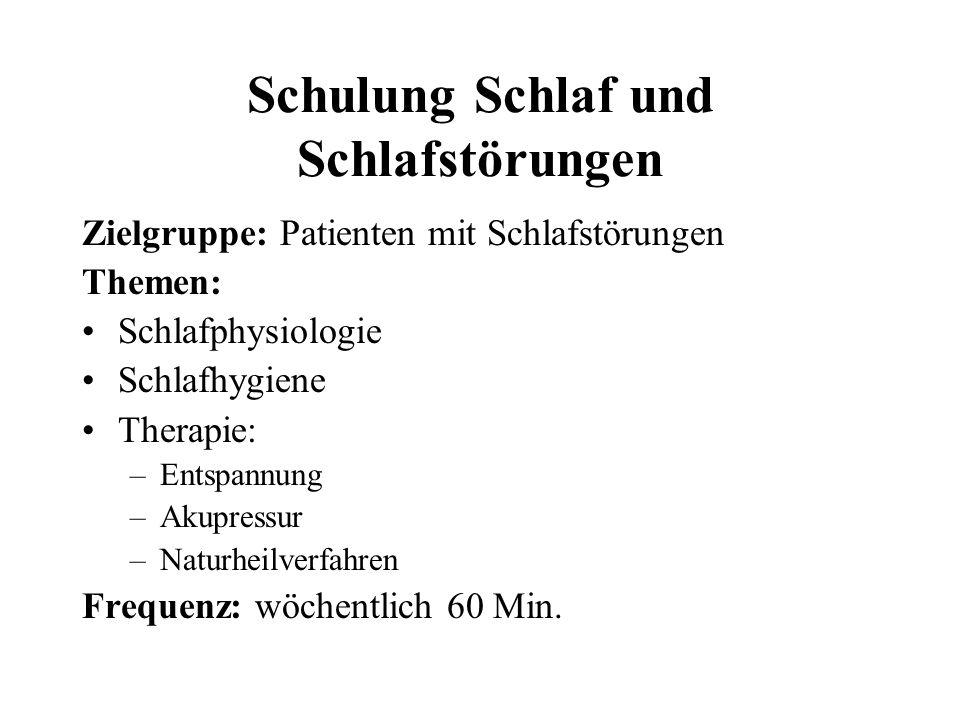 Schulung Schlaf und Schlafstörungen Zielgruppe: Patienten mit Schlafstörungen Themen: Schlafphysiologie Schlafhygiene Therapie: –Entspannung –Akupress