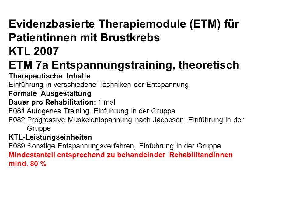 Evidenzbasierte Therapiemodule (ETM) für Patientinnen mit Brustkrebs KTL 2007 ETM 7a Entspannungstraining, theoretisch Therapeutische Inhalte Einführu