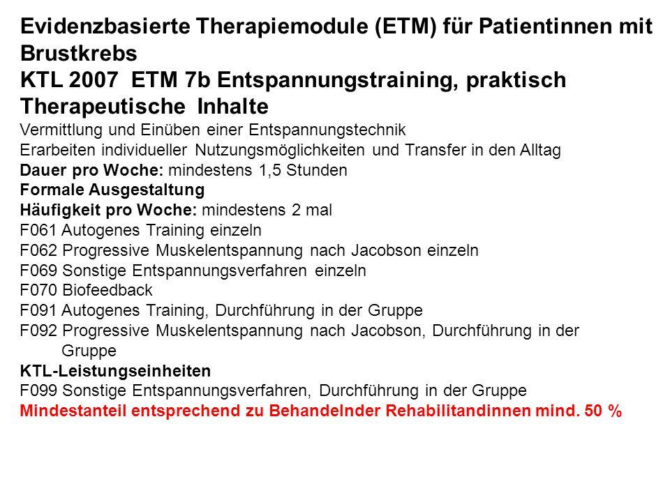 Evidenzbasierte Therapiemodule (ETM) für Patientinnen mit Brustkrebs KTL 2007 ETM 7b Entspannungstraining, praktisch Therapeutische Inhalte Vermittlun