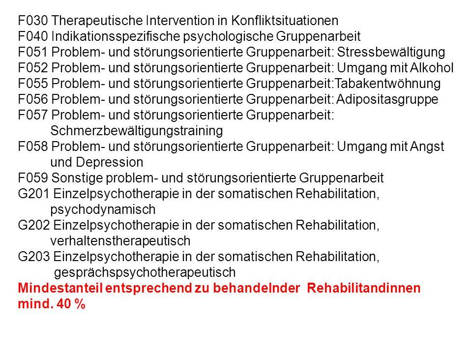 F030 Therapeutische Intervention in Konfliktsituationen F040 Indikationsspezifische psychologische Gruppenarbeit F051 Problem- und störungsorientierte