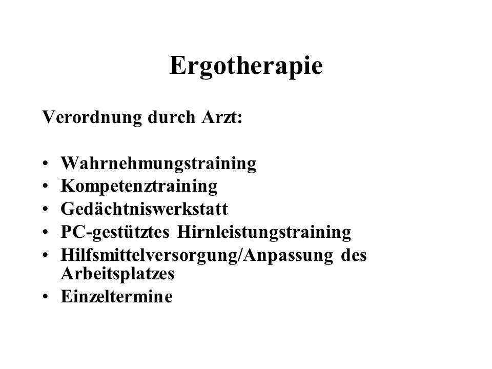Ergotherapie Verordnung durch Arzt: Wahrnehmungstraining Kompetenztraining Gedächtniswerkstatt PC-gestütztes Hirnleistungstraining Hilfsmittelversorgu