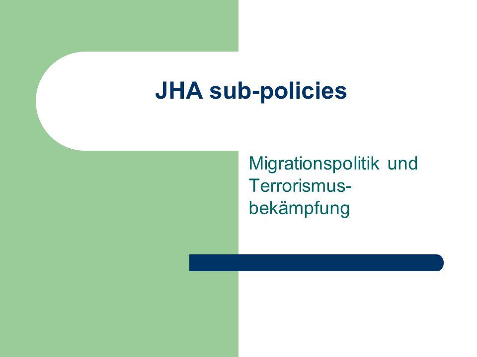 JHA sub-policies Migrationspolitik und Terrorismus- bekämpfung