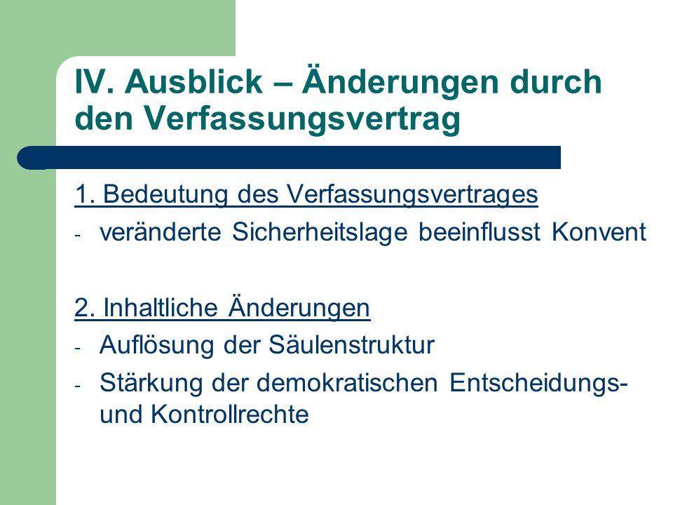 IV. Ausblick – Änderungen durch den Verfassungsvertrag 1. Bedeutung des Verfassungsvertrages - veränderte Sicherheitslage beeinflusst Konvent 2. Inhal