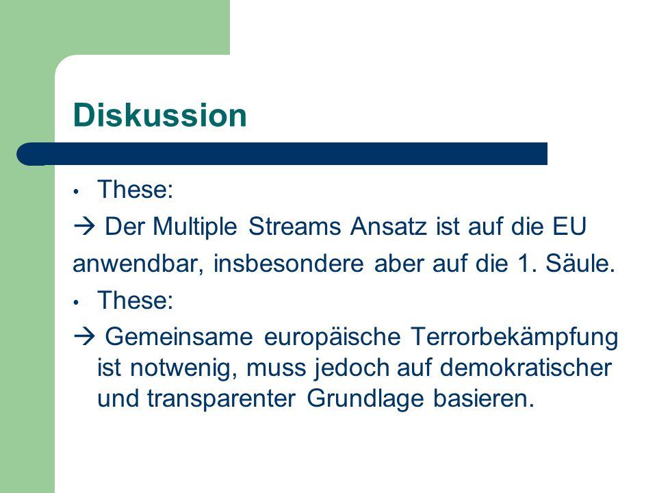 Diskussion These:  Der Multiple Streams Ansatz ist auf die EU anwendbar, insbesondere aber auf die 1. Säule. These:  Gemeinsame europäische Terrorbe
