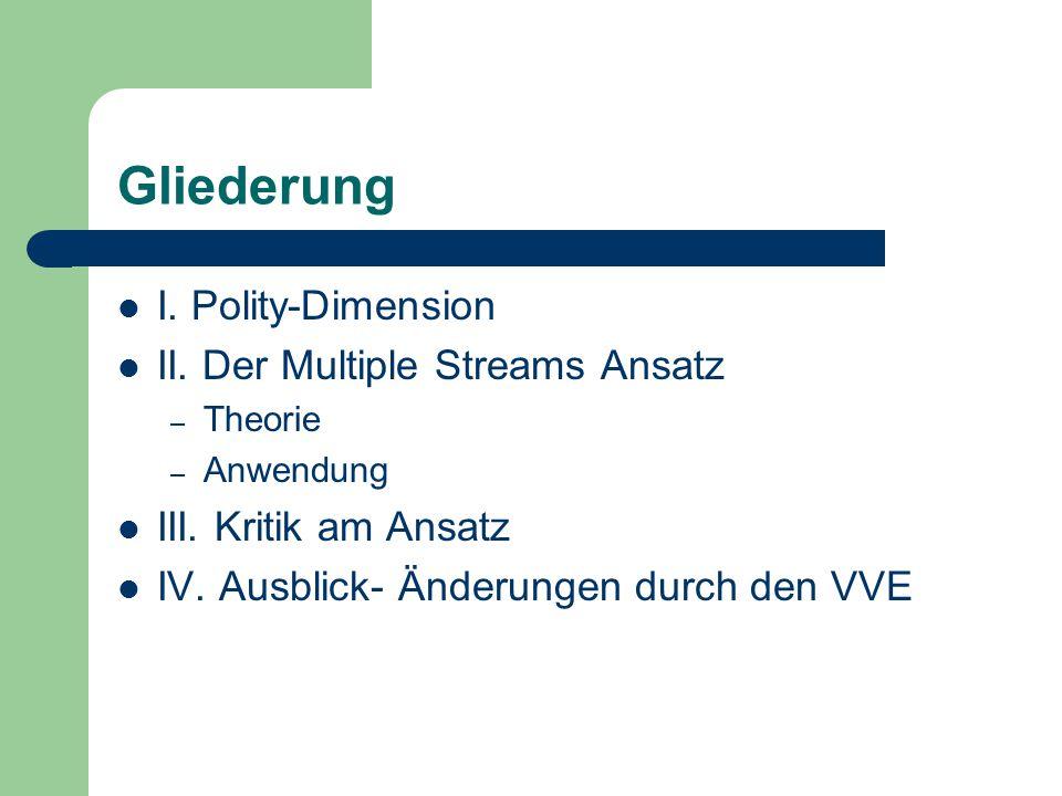 Gliederung I. Polity-Dimension II. Der Multiple Streams Ansatz – Theorie – Anwendung III. Kritik am Ansatz IV. Ausblick- Änderungen durch den VVE