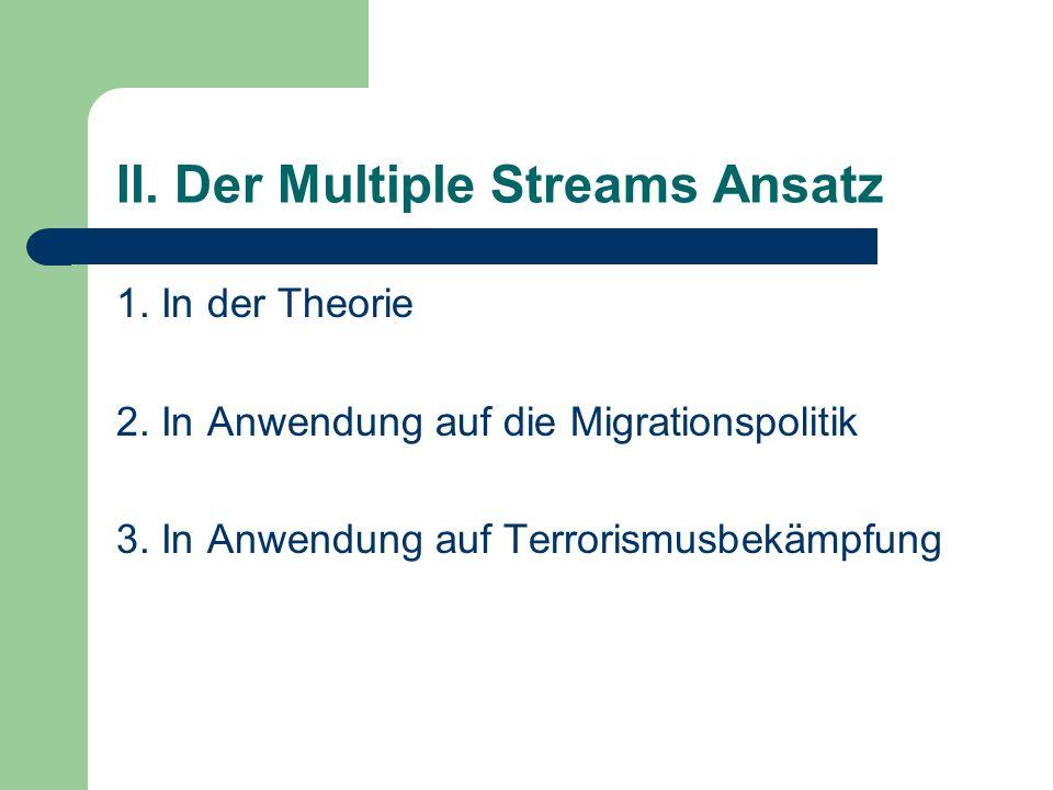 II. Der Multiple Streams Ansatz 1. In der Theorie 2. In Anwendung auf die Migrationspolitik 3. In Anwendung auf Terrorismusbekämpfung