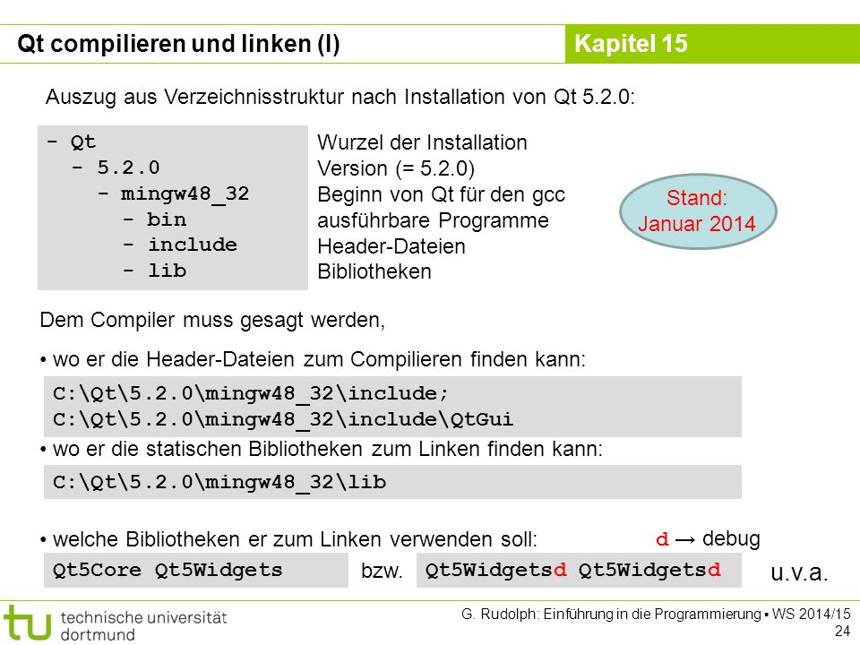 Kapitel 15 Qt compilieren und linken (I) - Qt - 5.2.0 - mingw48_32 - bin - include - lib Auszug aus Verzeichnisstruktur nach Installation von Qt 5.2.0