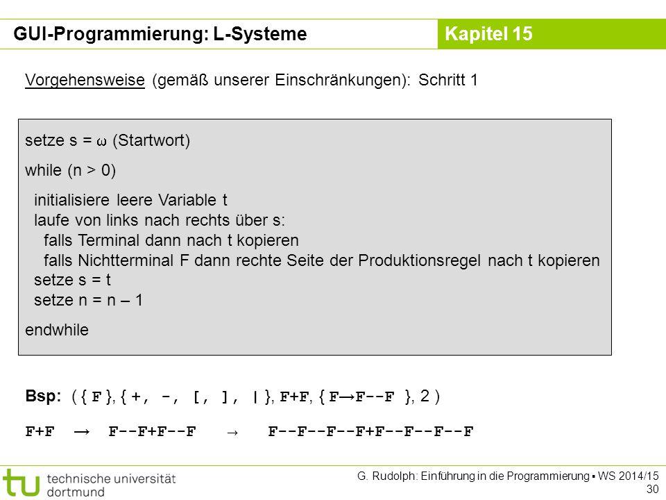 Kapitel 15 GUI-Programmierung: L-Systeme Vorgehensweise (gemäß unserer Einschränkungen): Schritt 1 setze s =  (Startwort) while (n > 0) initialisiere