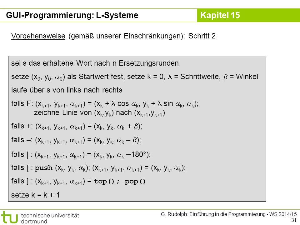 Kapitel 15 GUI-Programmierung: L-Systeme Vorgehensweise (gemäß unserer Einschränkungen): Schritt 2 sei s das erhaltene Wort nach n Ersetzungsrunden se