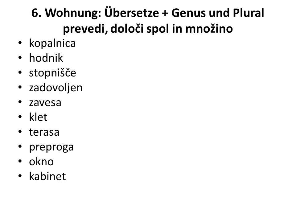 6. Wohnung: Übersetze + Genus und Plural prevedi, določi spol in množino kopalnica hodnik stopnišče zadovoljen zavesa klet terasa preproga okno kabine