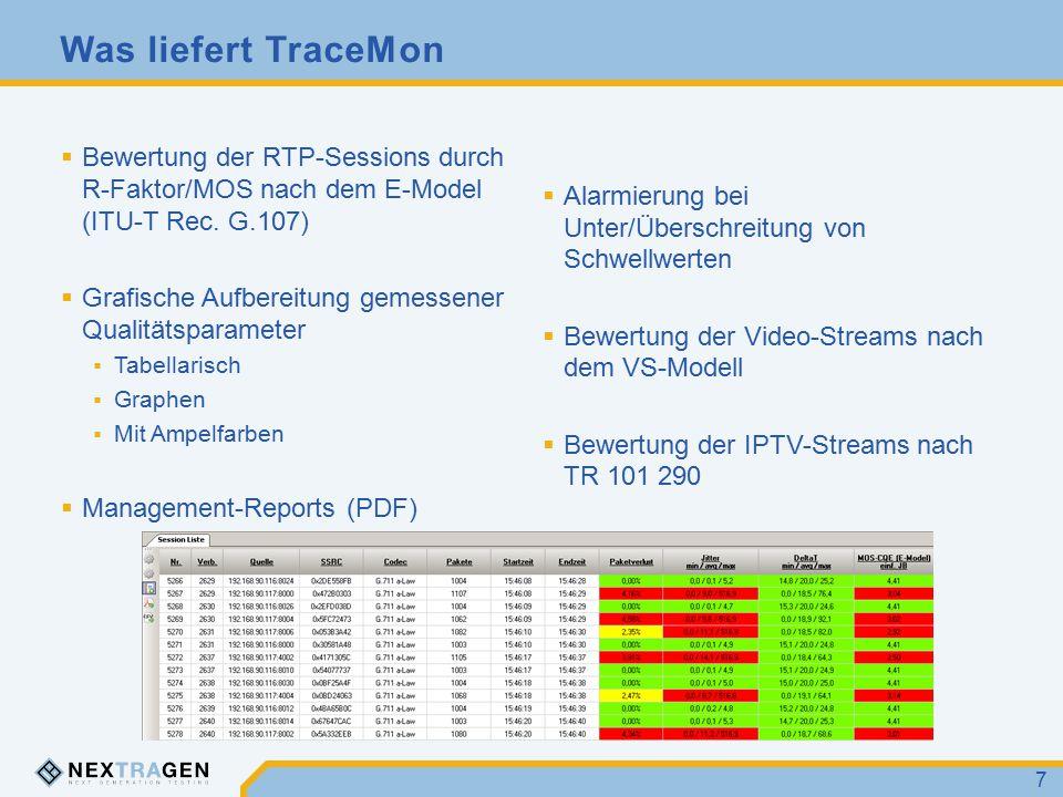 Features VoIP Codecs  G.711 a-/µ-law  G.721  G.723.1  G.729a  GSM  iLBC Gemessene Netzparameter  DeltaT (min/avg/max)  Jitter (min/avg/max)  Paketverluste  Reordered Packets  Duplicated Packets IPTV-Protokolle  MPEG 2 TS UDP RTP Video Codecs  H.263  H.264 Bewertungsmodelle  E-Model (ITU-T Rec.