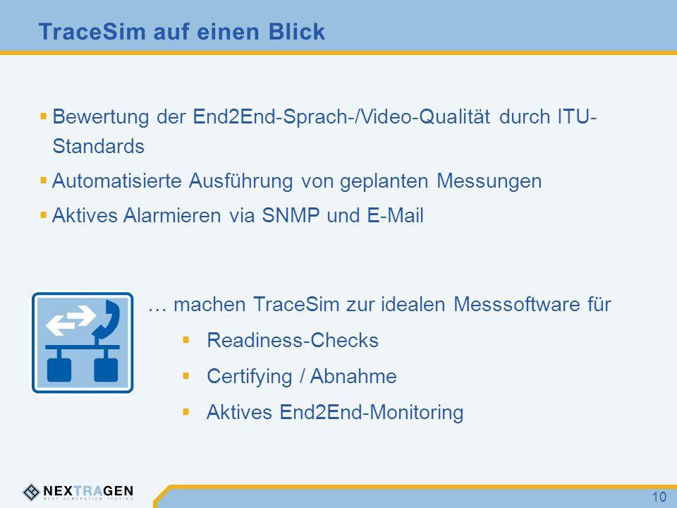 TraceSim auf einen Blick 10  Bewertung der End2End-Sprach-/Video-Qualität durch ITU- Standards  Automatisierte Ausführung von geplanten Messungen 