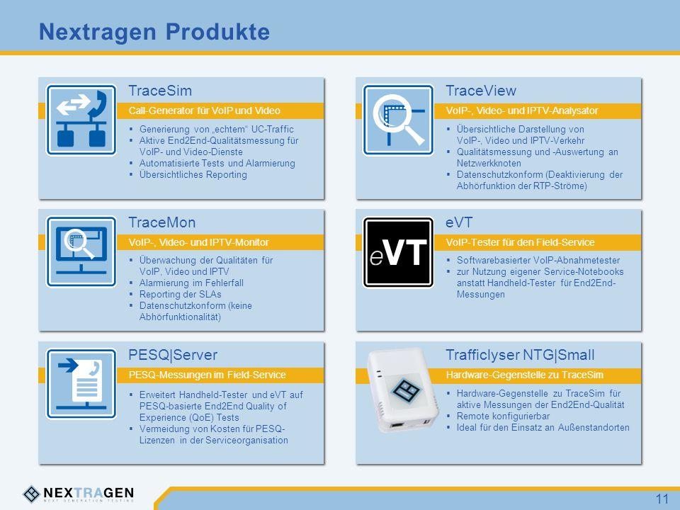 """Nextragen Produkte 11 TraceSim Call-Generator für VoIP und Video  Generierung von """"echtem"""" UC-Traffic  Aktive End2End-Qualitätsmessung für VoIP- und"""