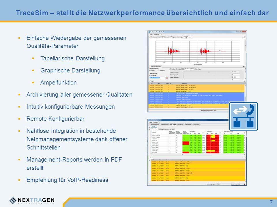 TraceSim – stellt die Netzwerkperformance übersichtlich und einfach dar 7  Einfache Wiedergabe der gemessenen Qualitäts-Parameter  Tabellarische Dar