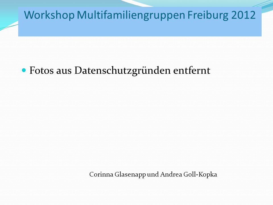 Workshop Multifamiliengruppen Freiburg 2012 Fotos aus Datenschutzgründen entfernt Corinna Glasenapp und Andrea Goll-Kopka
