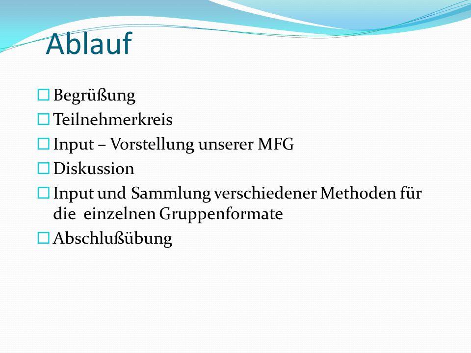 Ablauf  Begrüßung  Teilnehmerkreis  Input – Vorstellung unserer MFG  Diskussion  Input und Sammlung verschiedener Methoden für die einzelnen Gruppenformate  Abschlußübung