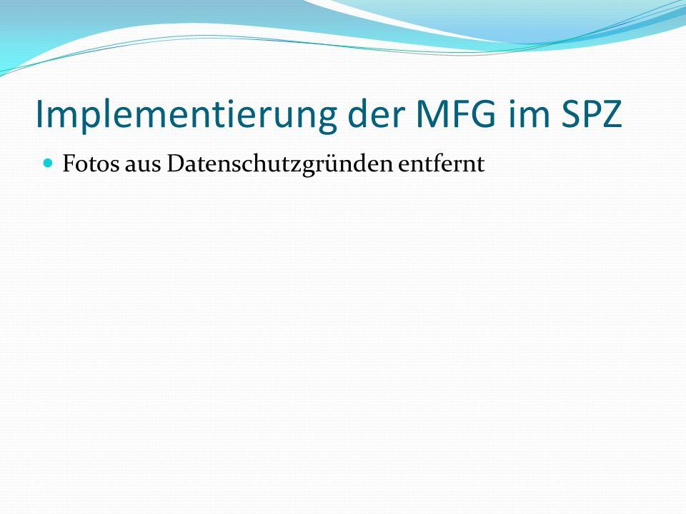 Implementierung der MFG im SPZ Fotos aus Datenschutzgründen entfernt