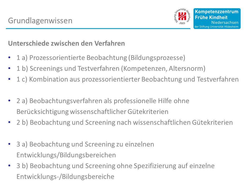 Unterschiede zwischen den Verfahren 1 a) Prozessorientierte Beobachtung (Bildungsprozesse) 1 b) Screenings und Testverfahren (Kompetenzen, Altersnorm)