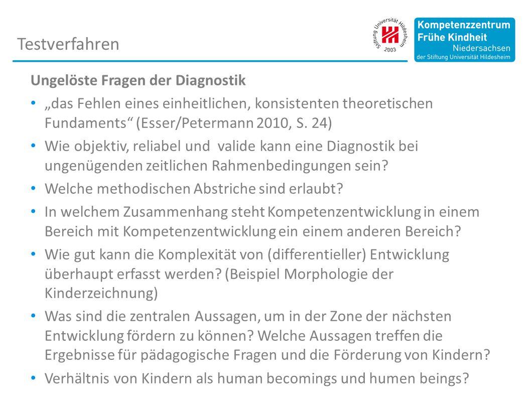 """Ungelöste Fragen der Diagnostik """"das Fehlen eines einheitlichen, konsistenten theoretischen Fundaments (Esser/Petermann 2010, S."""