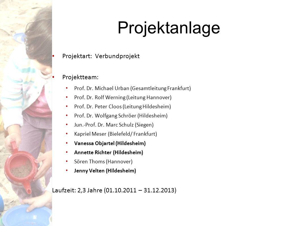 Projektanlage Projektart: Verbundprojekt Projektteam: Prof. Dr. Michael Urban (Gesamtleitung Frankfurt) Prof. Dr. Rolf Werning (Leitung Hannover) Prof