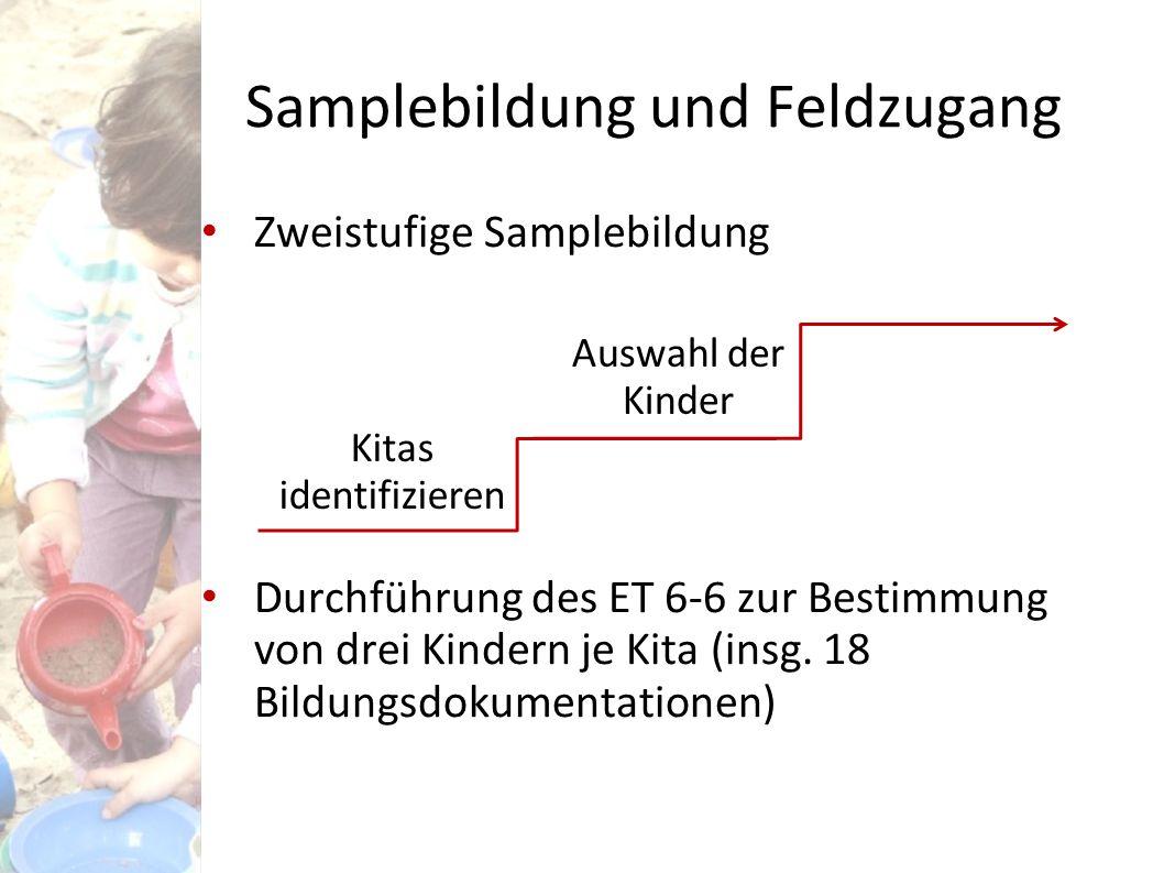 Samplebildung und Feldzugang Zweistufige Samplebildung Durchführung des ET 6-6 zur Bestimmung von drei Kindern je Kita (insg. 18 Bildungsdokumentation