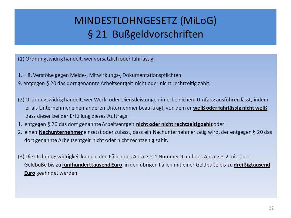 MINDESTLOHNGESETZ (MiLoG) § 21 Bußgeldvorschriften (1) Ordnungswidrig handelt, wer vorsätzlich oder fahrlässig 1.