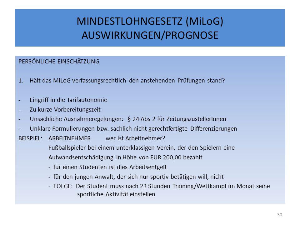MINDESTLOHNGESETZ (MiLoG) AUSWIRKUNGEN/PROGNOSE PERSÖNLICHE EINSCHÄTZUNG 1.Hält das MiLoG verfassungsrechtlich den anstehenden Prüfungen stand.