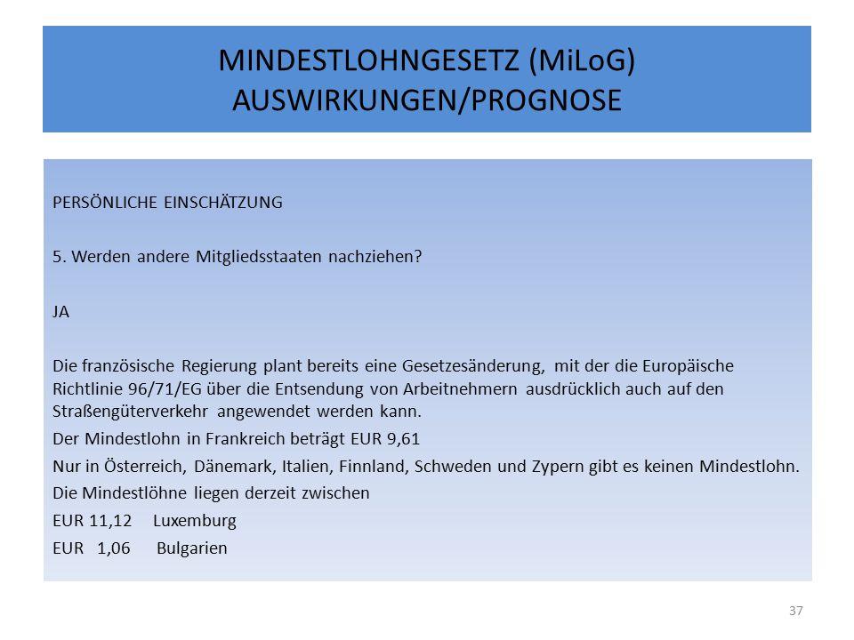 MINDESTLOHNGESETZ (MiLoG) AUSWIRKUNGEN/PROGNOSE PERSÖNLICHE EINSCHÄTZUNG 5.